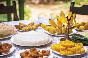 "Sri Lankan traditional new year dining table featuring ""Kiribath""."