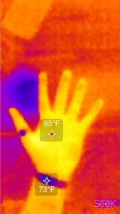 Hands photographed using deep infrared camera.